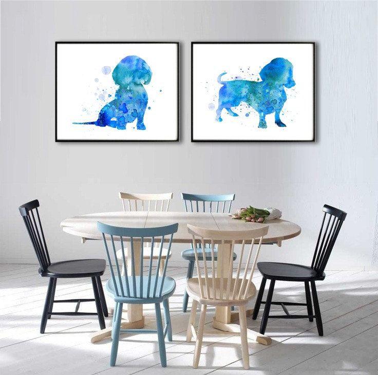 Set of two Watercolor Art Prints Dachshund Print Home by QPrints