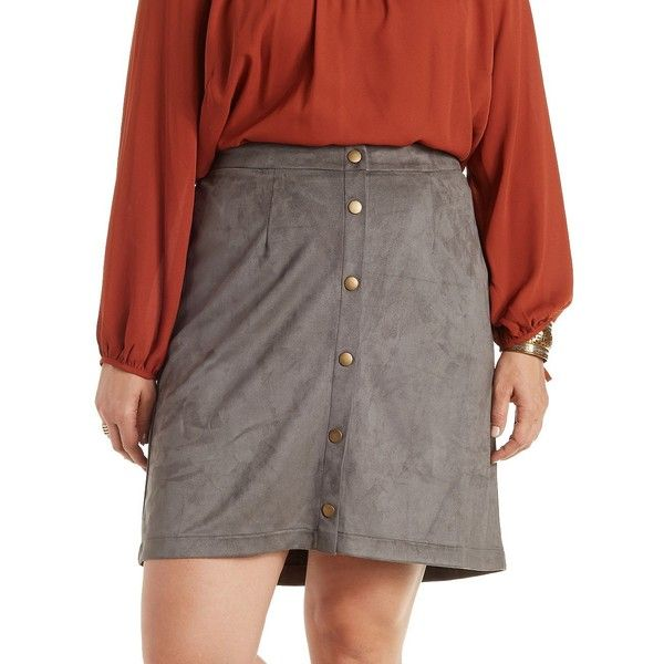 Charlotte Russe Button-Up Shirt Faux Suede Skirt ($12) ❤ liked on Polyvore featuring plus size women's fashion, plus size clothing, plus size skirts, plus size mini skirts, grey, short skirts, short miniskirt, faux suede mini skirt, flared mini skirt and flare skirt