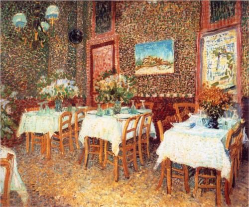 VINCENT VAN GOGH 1853-1890 - Interior of a Restaurant, Paris 1887...traveled to Paris in March 1886, where he shared his brother Theo's Rue Laval apartment on Montmartre, to study at Fernand Cormon's studio.  In Paris, he painted portraits of friends and acquaintances, still-life paintings, views of Le Moulin de la Galette, scenes in Montmartre, Asnières and along the Seine.