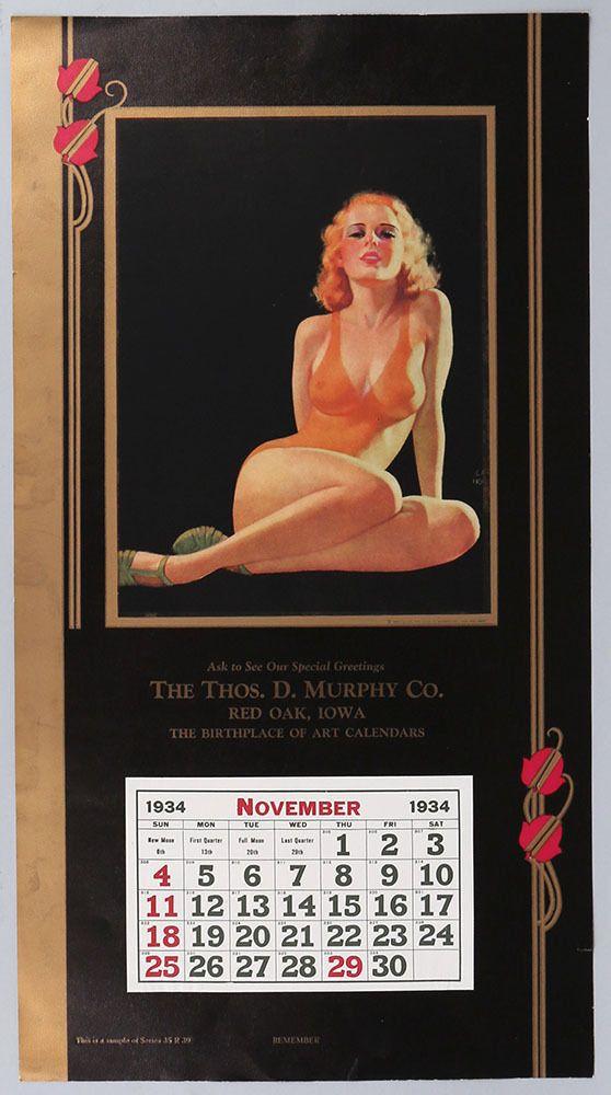 Rare 1934 Earl Moran Art Deco Pin-Up Bathing Beauty Calendar Vintage Remember?