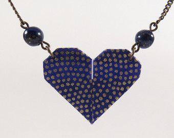 Origami Heart Necklace * LOVE * juweel vrouw. Origami sieraden. Valentine. Jewel hart. Washi papier. Natuurlijke parels. Donkerblauw