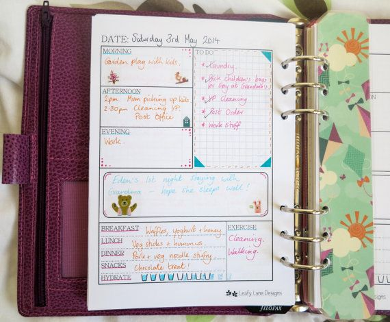 A5 Filofax size 'Daily Life' printable page by LeafyLaneDesigns