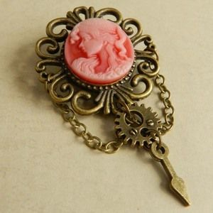 Image of Beautiful Steampunk Red Victorian Lady Brooch