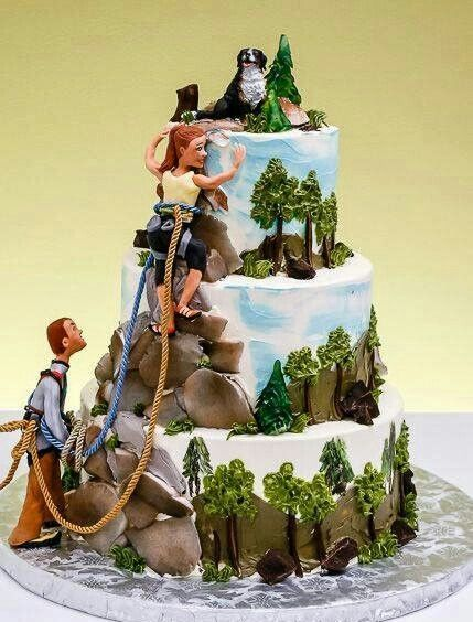 Rock Climbing Bride And Groom Cake Topper