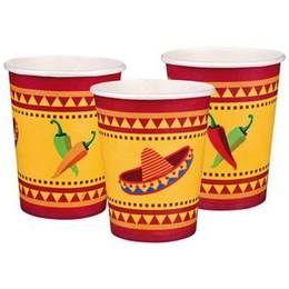 Een set met 6 papieren bekertjes bedrukt in Mexicaanse stijl. themafeesten mexicaans