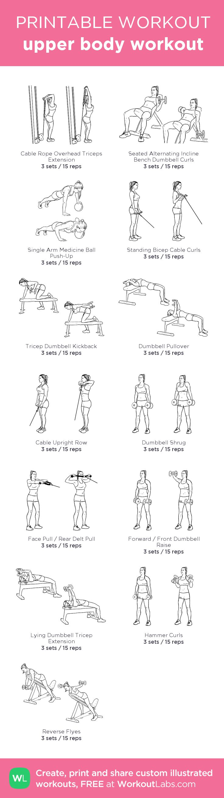 upper body workout:my visual workout created at WorkoutLabs.com • Click through to customize and download as a FREE PDF! #customworkout