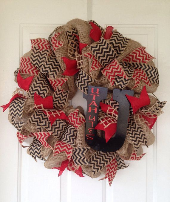 items similar to sale custom football wreath or college burlap wreath with chevron or polka dot burlap and a custom letter with vinyl lettering on etsy