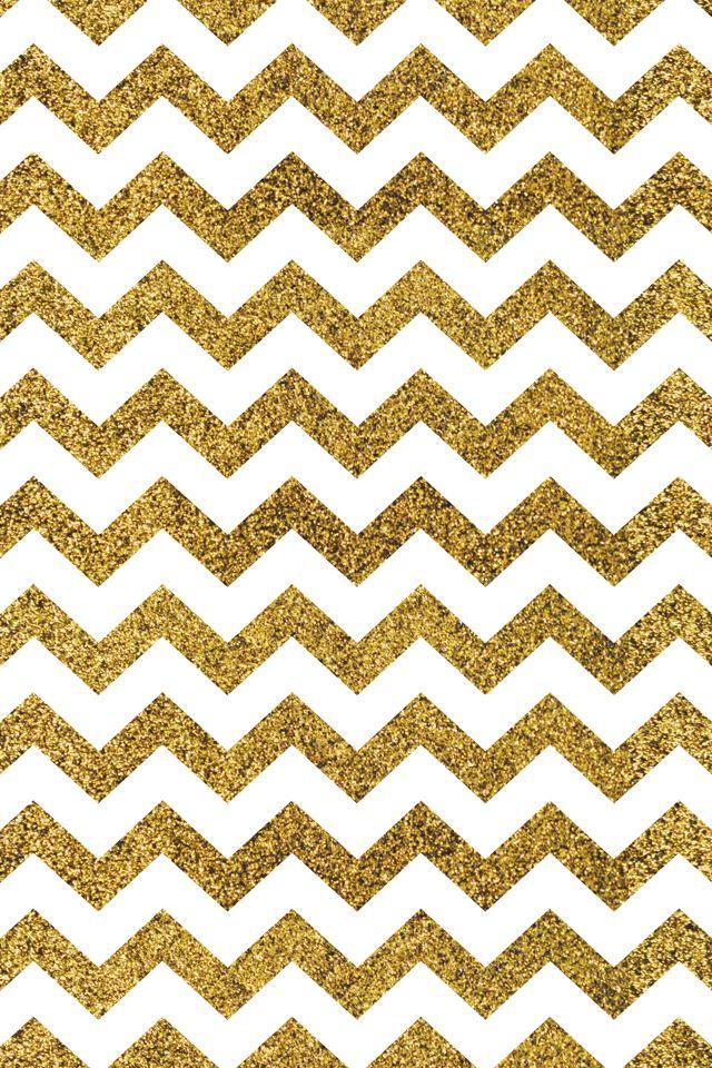 Gold glitter chevron iPhone wallpaper