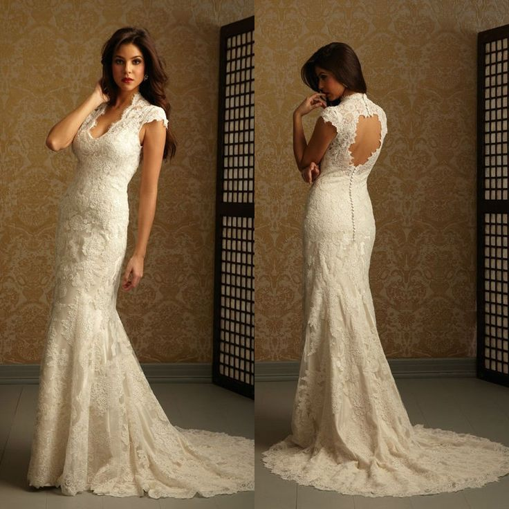 Sexy elegant v neck cap sleeves backless mermaid trumpet for Lace wedding dress overlay