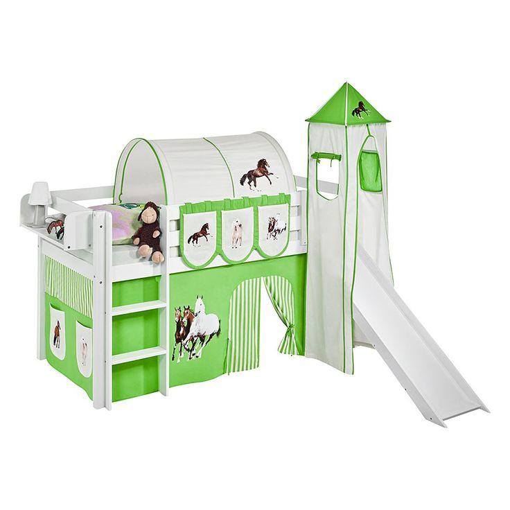 spielbett jelle pferde grn hochbett lilokids mit turm und rutsche und vorhang wei - Hausgemachte Etagenbetten Mit Rutsche