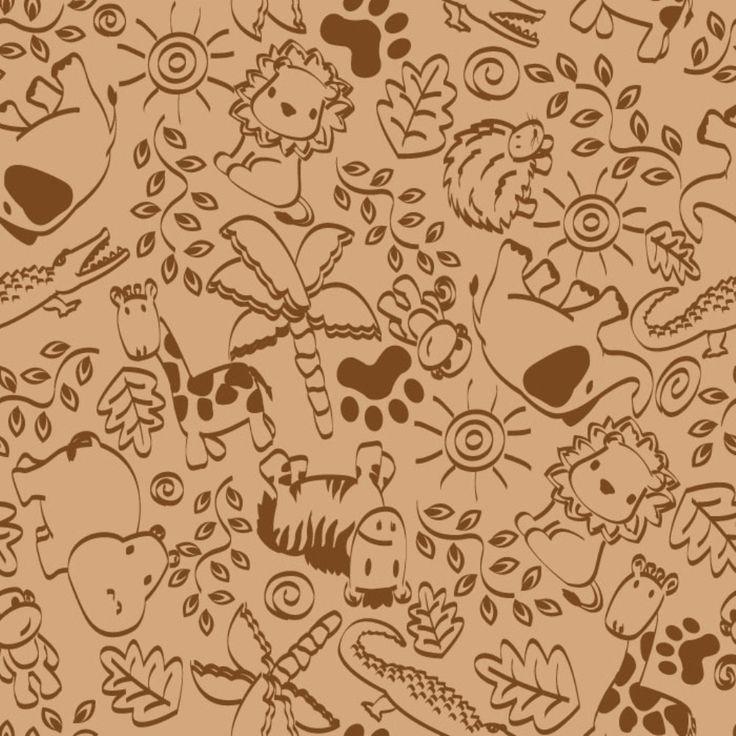 Animal Doodles Children's Rug Brown on Tan | KidCarpet.com