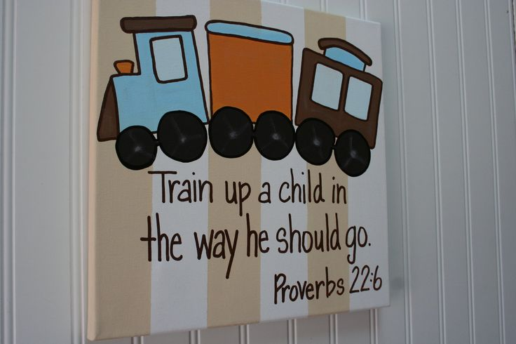 Train up a child, Proverbs 22:6, custom Bible Verse wall art painting 16x20, boy's nursery or bedroom, baby dedication or christening gift