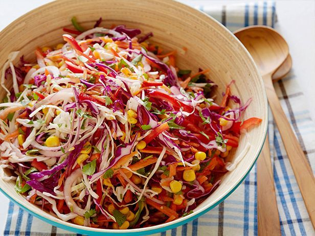 4 Tricks for Shredded Slaw Glory — Summer Soiree #ColeslawRecipes #SummerSlaw #FNDish: Summer Side Dishes, Salads Slaw, Limes Dresses, Smoking Corn, Yummy, Side Dish Recipes, Cookingchanneltv Com, Tangi Coleslaw, Cooking Channel