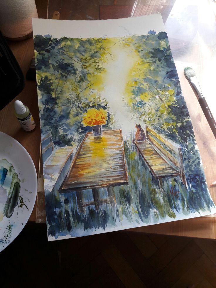 Watercolor. Cat and sun. 30*40cm