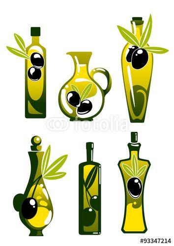 Вектор: Olive oil in bottles and jug