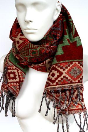 Schal für Damen und Herren in rot & bunt aus Wolle