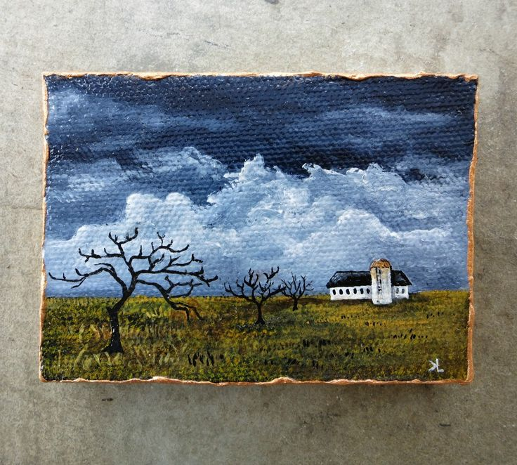 This autumn landscape painting features a white barn and silo looking very exposed in a desolate field under a stormy sky. Though only slightly larger than a business card, miniature paintings can mak