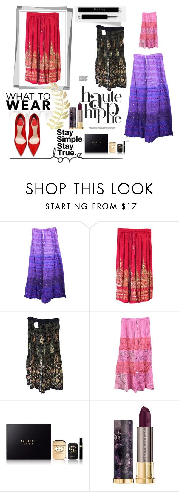 """""""Womens Festive Skirt"""" by era-chandok ❤ liked on Polyvore featuring Haute Hippie, Gucci and Urban Decay"""