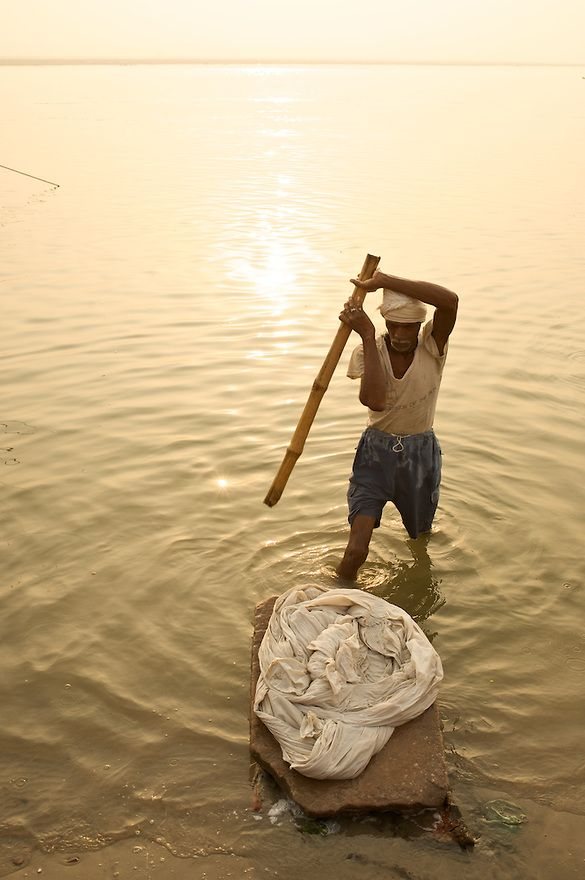 Dhobi Wallah - A low tech substitute to a clothes washer. All you need is a stone, stick and water!