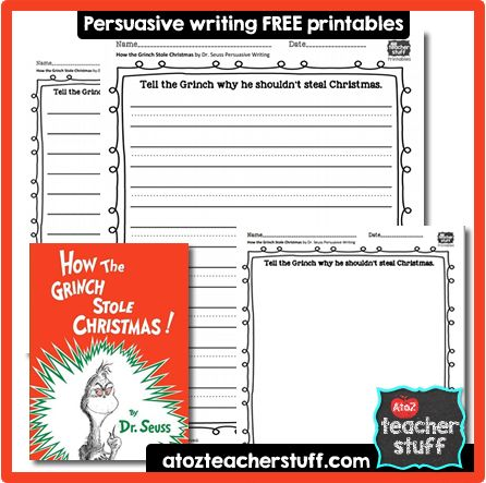 How the Grinch Stole Christmas Persuasive Writing Response Printable | A to Z Teacher Stuff Printable Pages and Worksheets