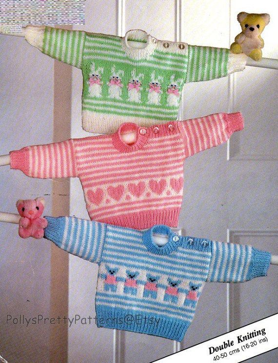 This PDF Knitting Pattern is for a lovely Sweater in designs suitable for boys and girls, with a choice of Rabbits, Hearts or Teddy Bears.  All items are knitted in DK weight wool To fit chest sizes: 16 to 20 (40-50 cm) and are knitted in DK wool on a pair each of 3.25 mm (UK No.10 USA 3) and 4 mm (UK No.8 USA 5) knitting needles.  Your PDF pattern is an instant download on payment. All of our patterns are water marked but are still very easy to read.