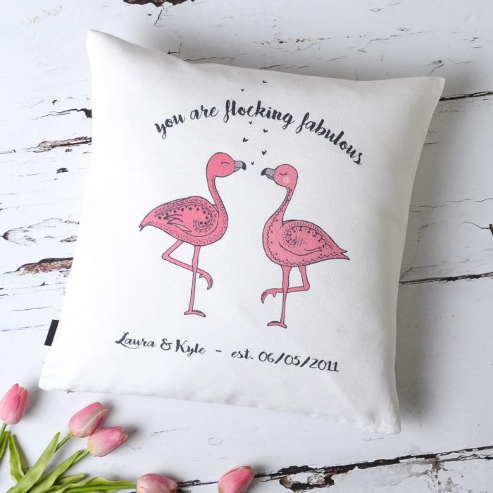 You Are Flocking Fabulous Flamingo Couple Cushion Cover