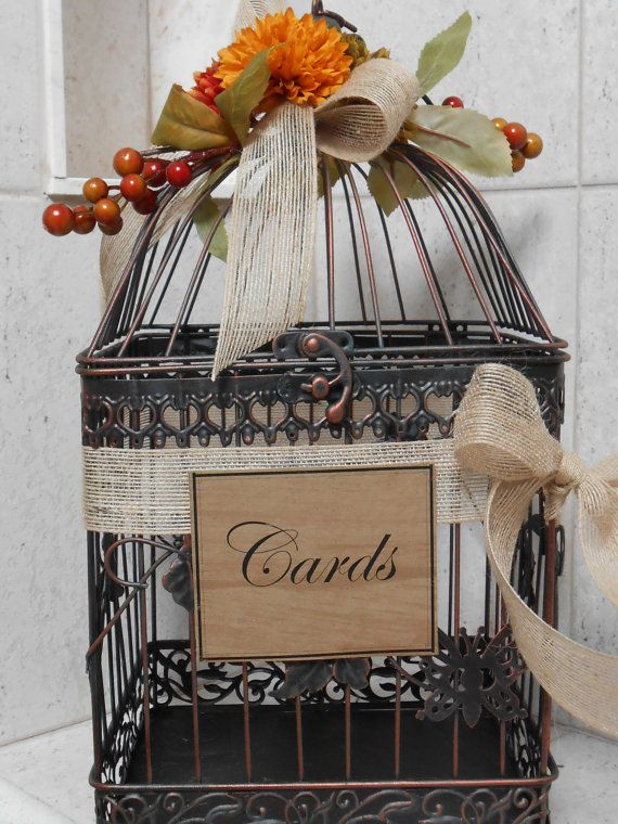 Items Similar To Rustic Birdcage Wedding Card Holder Box Fall Decor On Etsy