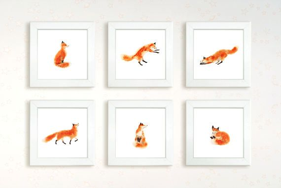 6 watercolor hand painting fanny fox set. Instant download printable high resolution jpg. Sitting, sleeping, jumping foxy. Wall decor art.  fox, foxy, watercolor print, hand painting, wall art, jpg, printable, many set, home decor, downable art, digital set, square, instant download