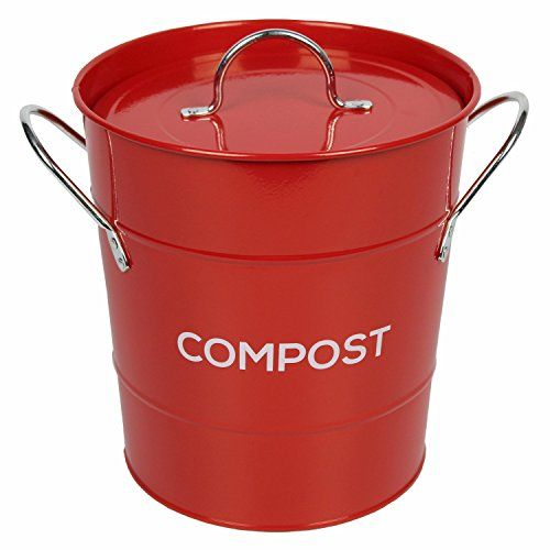 from red metal kitchen compost caddy composting bin for food waste recycling