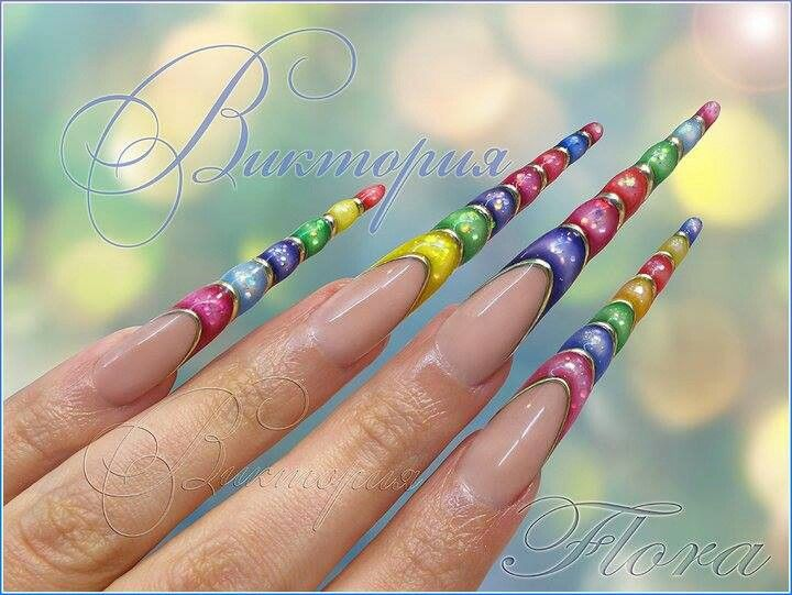 Extreme stiletto nail design (weird looking like candy pops)