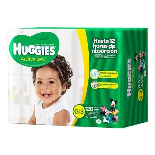 Huggies Active Sec G/3 Super Pack 120 unidades.