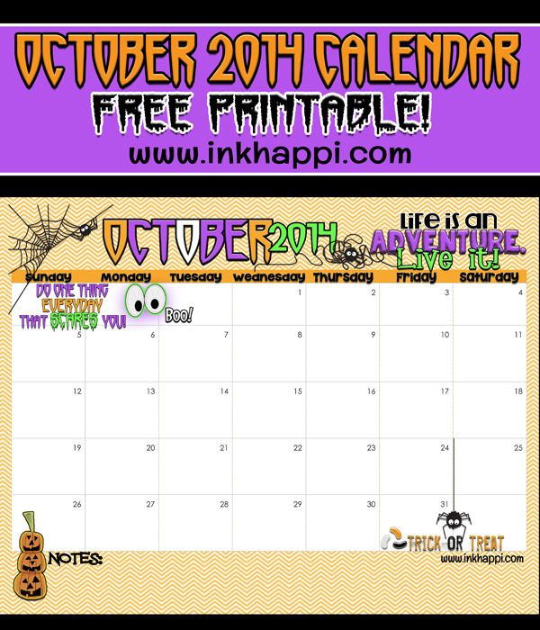 October 2014 Halloween Themed Calendar  {Free printable from inkhappi.com}