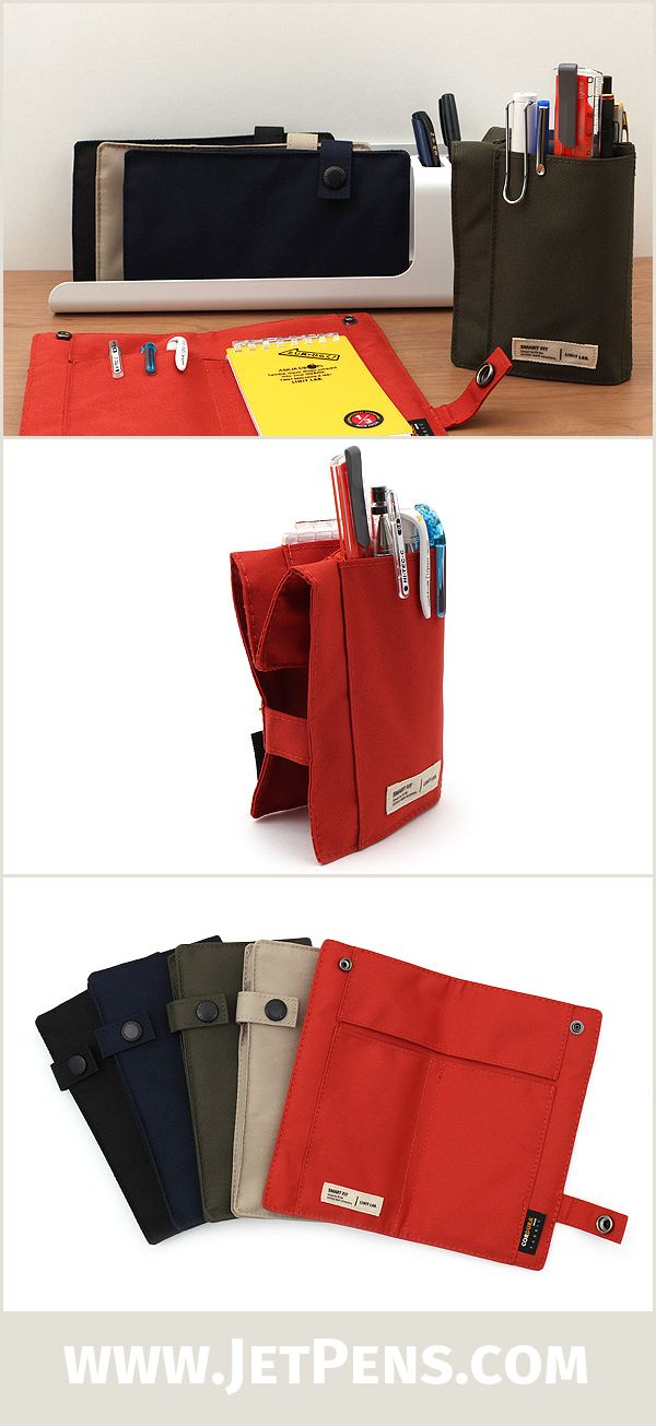 The convertible Lihit Lab Smart Fit Pen Case transforms from a slim, folded case into a pop-up pen stand. Simply fold back the top of the case and snap the buttons together!