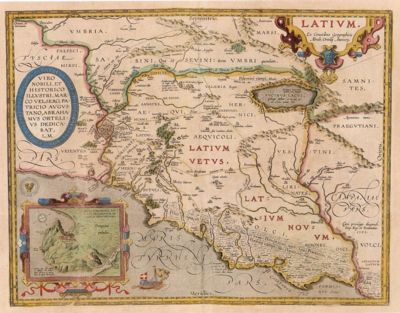 In case you've been wondering where it all started, with those damn Latins trying to force their language down our throats.  Latium - Abraham Ortel, 1595
