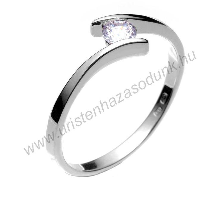 E3FC - 34.950 Ft 14 karátos fehér arany cirkónia köves Eljegyzési Gyűrűk 48-60-as méretig azonnal raktárról www.uristenhazasodunk.hu