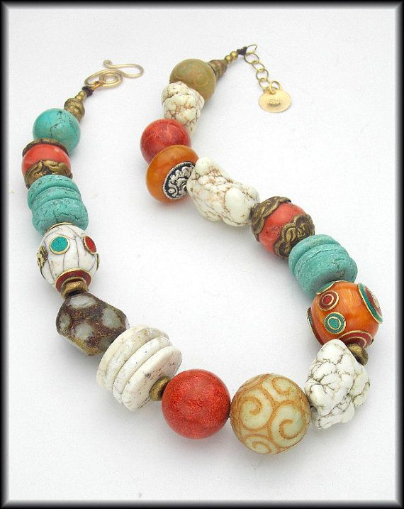 OUT OF TIBET  Mixed Tibetan and Gemstone by sandrawebsterjewelry, $195.00  #beadedjewelry