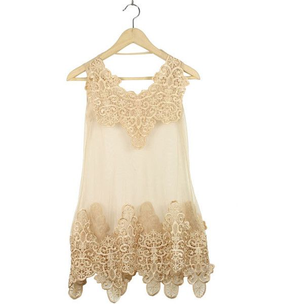 Apricot Lace Tank Embroidery Dress ($37) ❤ liked on Polyvore
