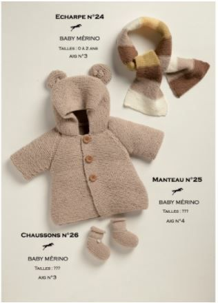 manteau bébé Un manteau bébé tricoté au point mousse proposé par Laines Cheval Blanc . Ce modèle se tricote avec des aiguilles N°4. Les explications sont fournies pour les tailles de 0-3 mois à 4 ans, pour obtenir le fichier, il suffit de sélectionner...
