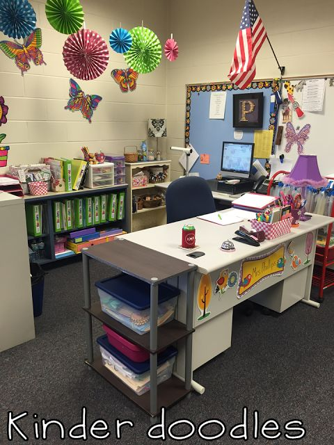 Homeschool Classroom Design ~ Teacher desk area kinder doodles classroom
