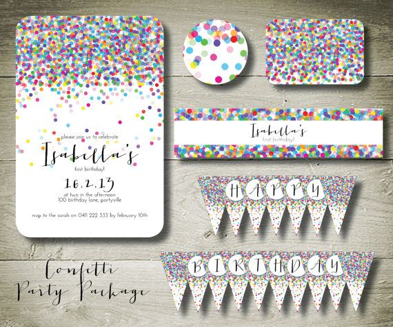 CONFETTI - personalised invitation printable party package via Etsy