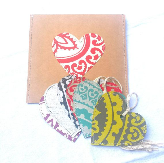 Hey, I found this really awesome Etsy listing at https://www.etsy.com/listing/238605312/upcycled-heart-gift-tag-sets-cards