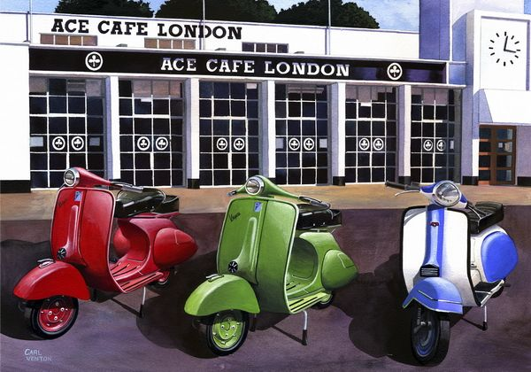 "003CV024 - Ace Cafe Scooter Meet  16"" x 12"" Print Only £12.99 9.5"" x 6.5"" Mounted to 14"" x 11"" - £12.99"