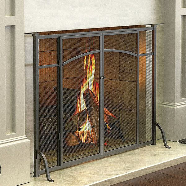 Improvements Hyde Park Flat Panel Fireplace Screen with Doors ($110) ❤ liked on Polyvore featuring home, home decor, fireplace accessories, fireplace, fireplace screen, black fire screen, fire screen, fireplace screens, black home decor and hearth screen