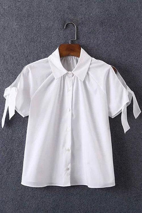 Cold Shoulder mangas de corbata de lazo Camisa recortada - US$15.95 -YOINS