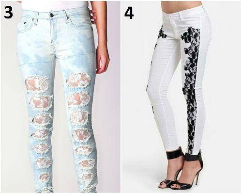Customização com renda em calças Jeans - 3-4