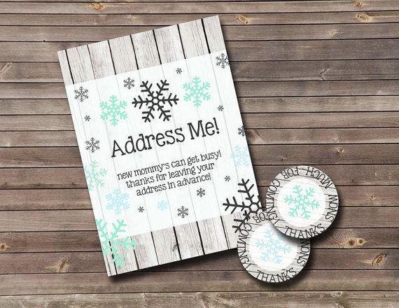 Snowflake Baby Shower Suite | Invitation | Address Me Activity Sign | Thank  You Tag