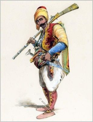 A Turkish 'başıbozuk' (irregular soldier of the Ottoman army). Late-ottoman, 2nd half of the 19th century.