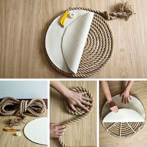 Un elegante tappeto di corda fai da te Sanat çanta, Örme