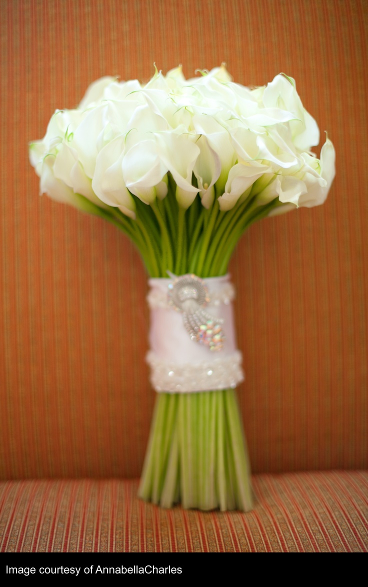 All white mini calla bouquet with crystal broach accent
