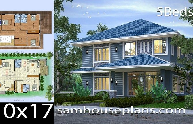 House Plans Idea 10x17m With 5 Bedrooms House Plans House Home Design Plans